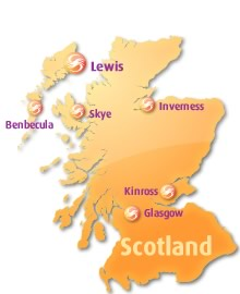 Graphic : Map of Scotland showing Stòrlann offices
