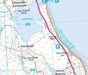 Map OS de Loch Mheaghailt agus Dùn Dearg.